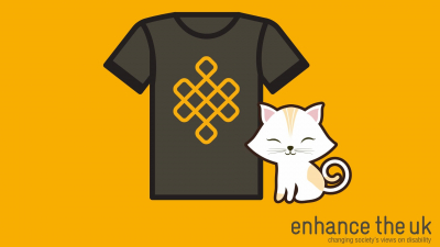 A black T-shirt with the Enhance The UK logo and a white cartoon cat