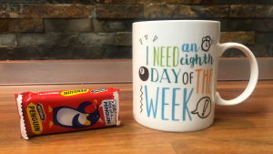 penguin biscuit and a mug of tea