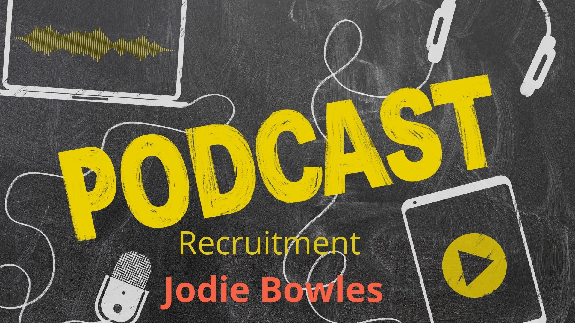 Podcast with HR expert Jodie Bowles - a blackboard with the word Podcast written on it with a graphic of headphones, a mobile phone and wires