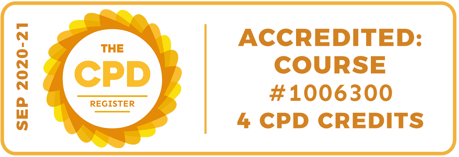September 2020-21. The CPD Register. Accredited: course number 1006300, 4 CPD Credits